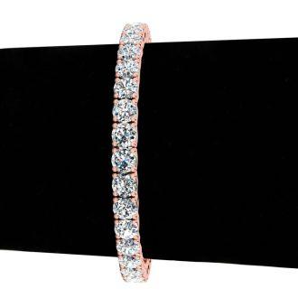 13 Carat Diamond Mens Tennis Bracelet In 14 Karat Rose Gold, 8 Inches