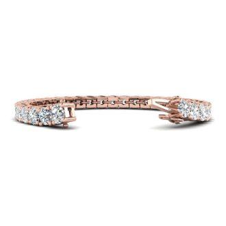 14 1/2 Carat Diamond Mens Tennis Bracelet In 14 Karat Rose Gold, 9 Inches