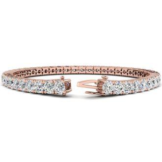 11 Carat Diamond Mens Tennis Bracelet In 14 Karat Rose Gold, 8 1/2 Inches