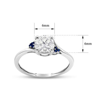 3/4 Carat Moissanite and Created Sapphire Ring In Sterling Silver