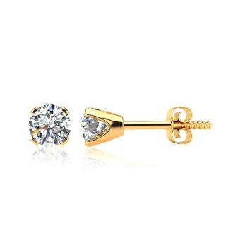 1.45 Carat Colorless Diamond Stud Earrings In 14 Karat Yellow Gold