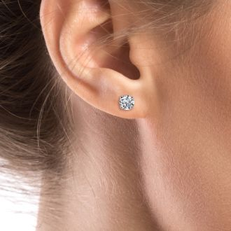1.30 Carat Colorless Diamond Stud Earrings In 14 Karat White Gold. Incredible Blowout Price! Limited Quantity!