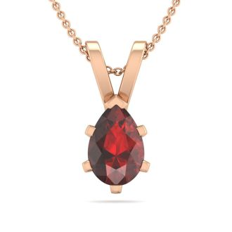 1/2 Carat Pear Shape Garnet Necklace In 14K Rose Gold Over Sterling Silver, 18 Inches