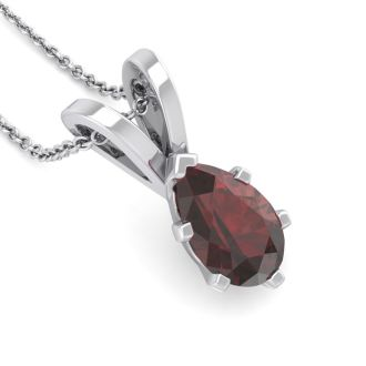 1 Carat Pear Shape Garnet Necklace In Sterling Silver, 18 Inches