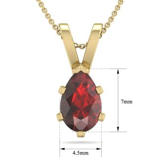 1 Carat Pear Shape Garnet Necklace In 14K Yellow Gold Over Sterling Silver, 18 Inches