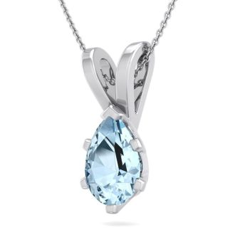 1 Carat Pear Shape Aquamarine Necklace In Sterling Silver, 18 Inches