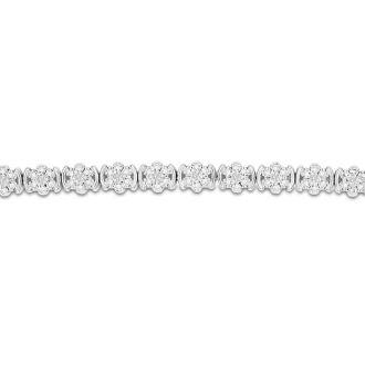 1/2 Carat Diamond Flower Bracelet, 7 Inches. Interesting Natural Rose Cut Diamonds In A Very Pretty Setting!