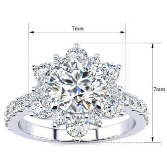 1 Carat Round Shape Halo Diamond Engagement Ring In 14K White Gold