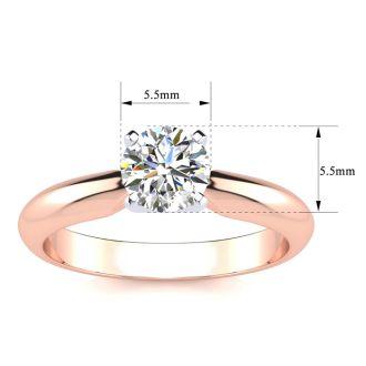 3/4 Carat Moissanite Solitaire Engagement Ring In 14 Karat Rose Gold