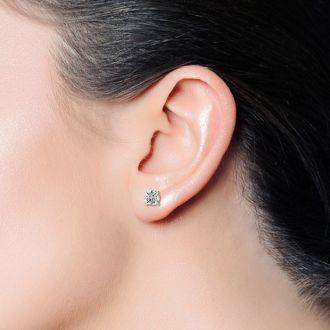 1 Carat Colorless Diamond Stud Earrings In 14 Karat White Gold