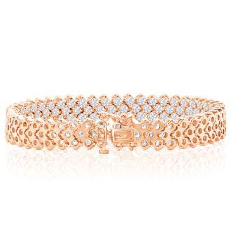 12 Carat Three Row Diamond Tennis Bracelet In 14 Karat Rose Gold