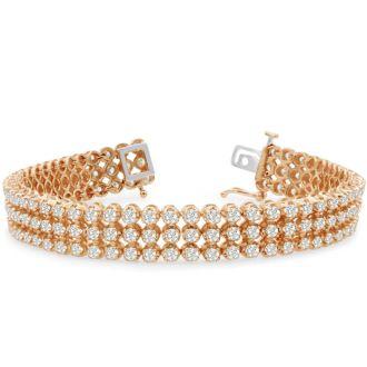 9 Carat Three Row Diamond Mens Tennis Bracelet In 14 Karat Rose Gold, 8 Inches