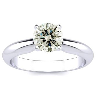 1.10 Carat Diamond Solitaire Engagement Ring In 14K White Gold. Rare Size and Bigger Than 1 Carat!