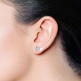 1 Carat Moissanite Screw Back Stud Earrings In 14K White Gold.  Fiery Amazing E-F Color, VVS Clarity Moissanite!  Very Popular!
