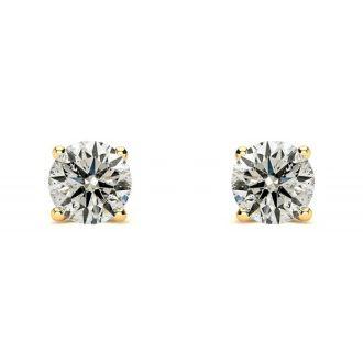 0.90 Carat Diamond Stud Earrings In 14 Karat Yellow Gold