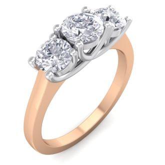 1 1/2 Carat Three Diamond Ring In 14 Karat Rose Gold