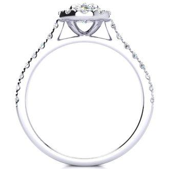 1 1/2 Carat Oval Shape Halo Moissanite Engagement Ring in 14k White Gold. Fiery Amazing Moissanite!