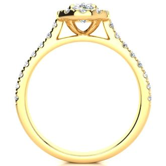 1 1/2 Carat Oval Shape Halo Diamond Engagement Ring in 14k Yellow Gold