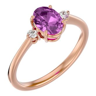 1 1/2 Carat Oval Shape Pink Topaz and Two Diamond Ring In 14 Karat Rose Gold