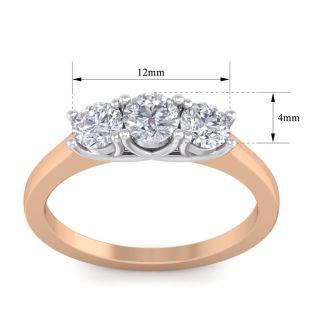 1 Carat Three Diamond Ring In Rose Gold