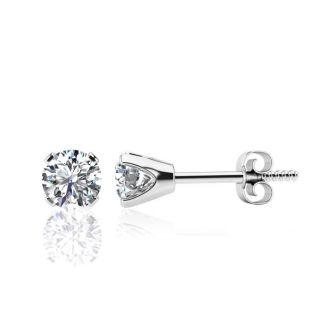1.07 Carat Colorless Diamond Stud Earrings In 14 Karat White Gold