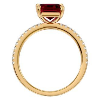 3 Carat Ruby and Diamond Ring In 14 Karat Yellow Gold