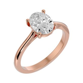 2 Carat Oval Shape Moissanite Solitaire Engagement Ring In 14 Karat Rose Gold