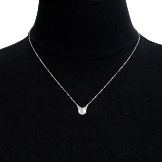 1/10 Carat Diamond Kitty Cat Stud Necklace In Sterling Silver, 18 Inches