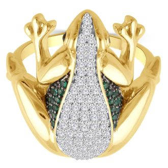 Designer Frog Cocktail Ring With White, Black and Green Diamonds In Yellow Gold Over Sterling Silver