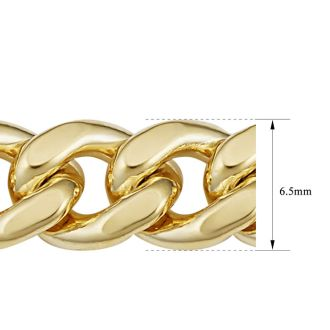 6.5mm Miami Cuban Chain, 24 Inches, Yellow Gold