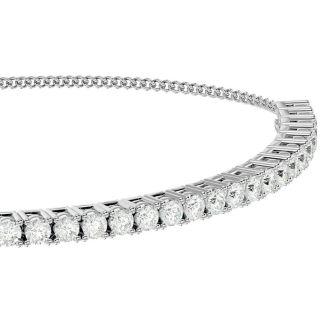 1 Carat Diamond Bolo Bracelet In 14 Karat White Gold, Adjustable 6-9 inches