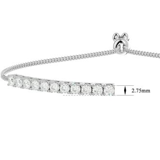 2 Carat Diamond Bolo Bracelet In 14 Karat White Gold, Adjustable 6-9 inches. New And Very Popular!
