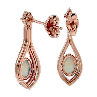 2 Carat Oval Shape Opal and Diamond Dangle Earrings In 14 Karat Rose Gold