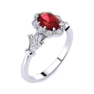 1 Carat Oval Shape Ruby and Halo Diamond Vintage Ring In 1.4 Karat Gold™