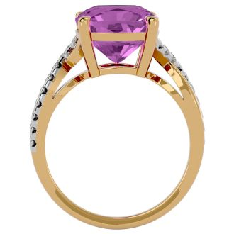 4 Carat Cushion Cut Pink Topaz and Diamond Ring in 10k Yellow Gold