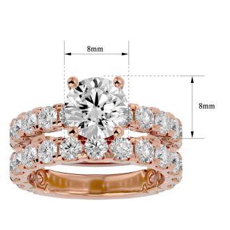 5 Carat Round Moissanite Bridal Set In 14 Karat Rose Gold