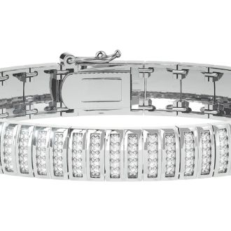 Very Fine 1 Carat Moissanite Bracelet In Platinum Plated Overlay, 7 Inches