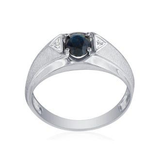 Don't Miss Out! New 1.4 Karat Gold™ Mens Ring With Beautiful Sapphire And Diamonds!  Ring Sizes from 7 to 12 Available