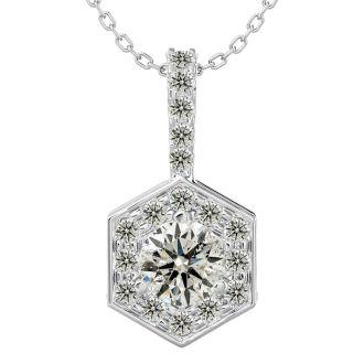 1/2 Carat Halo Diamond Necklace In 14 Karat White Gold, 18 Inches. Beautiful Pendant, Fiery diamonds, Amazing Price