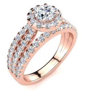 1 1/2 Carat Round Halo Diamond Engagement Ring in 14 Karat Rose Gold