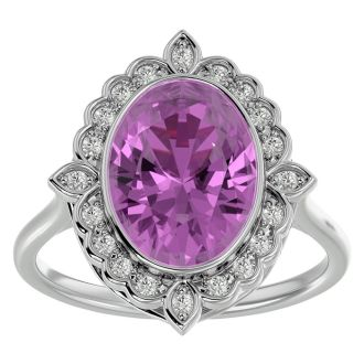 1 3/4 Carat Oval Shape Pink Topaz and Halo Diamond Ring In 14 Karat White Gold