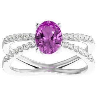 1 3/4 Carat Oval Shape Pink Topaz and Diamond Ring In 14 Karat Yellow Gold
