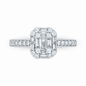 1/2 Carat Round and Baguette Shape Diamond Engagement Ring In 14K White Gold