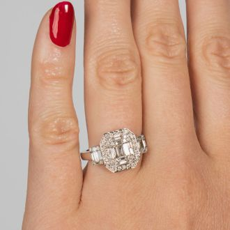 3/4 Carat Round and Baguette Shape Diamond Engagement Ring In 14K White Gold.  Very Fine Diamonds!
