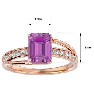 2 Carat Emerald Shape Pink Topaz and Diamond Ring In 14 Karat Rose Gold