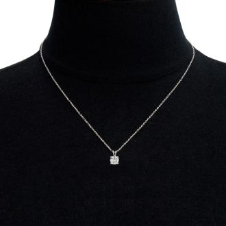 1 Carat Moissanite Solitaire Necklace In Solid 14K White Gold.  Exceptionally Fiery, Beautifully Cut Fabulous Moissanite!