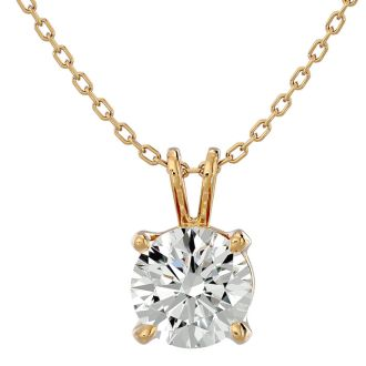 1 Carat Moissanite Solitaire Necklace In Solid 14K Yellow Gold.  Exceptionally Fiery, Beautifully Cut Fabulous Moissanite!