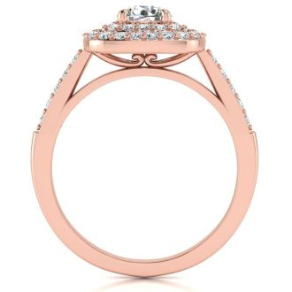 1 Carat Double Halo Diamond Engagement Ring in 14k Rose Gold
