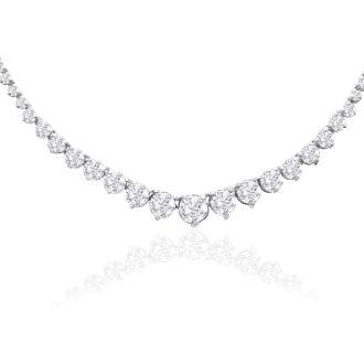 Graduated 4 Carat Diamond Tennis Necklace In 14 Karat White Gold
