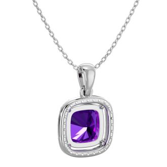 2 1/4 Carat Cushion Cut Amethyst and Halo Diamond Necklace In 14 Karat White Gold, 18 Inches